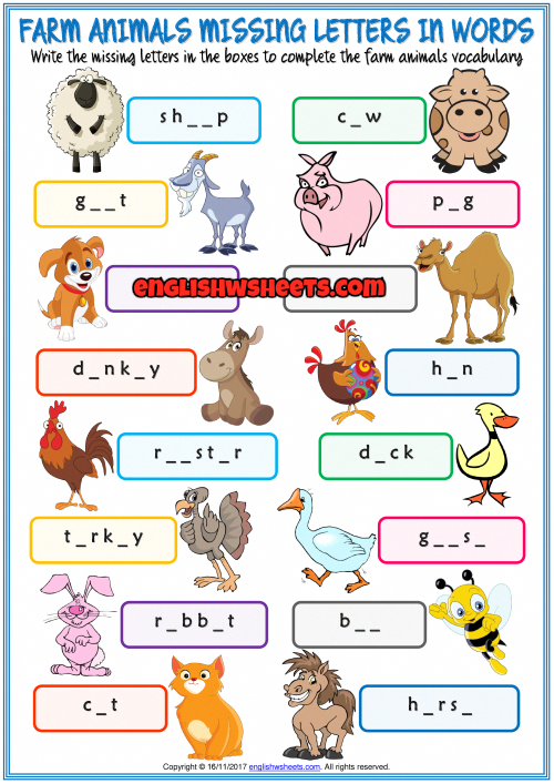 Farm Animals Missing Letters In Words Exercise Handout Farm Animals For Kids Farm Animals Activities Farm Animals