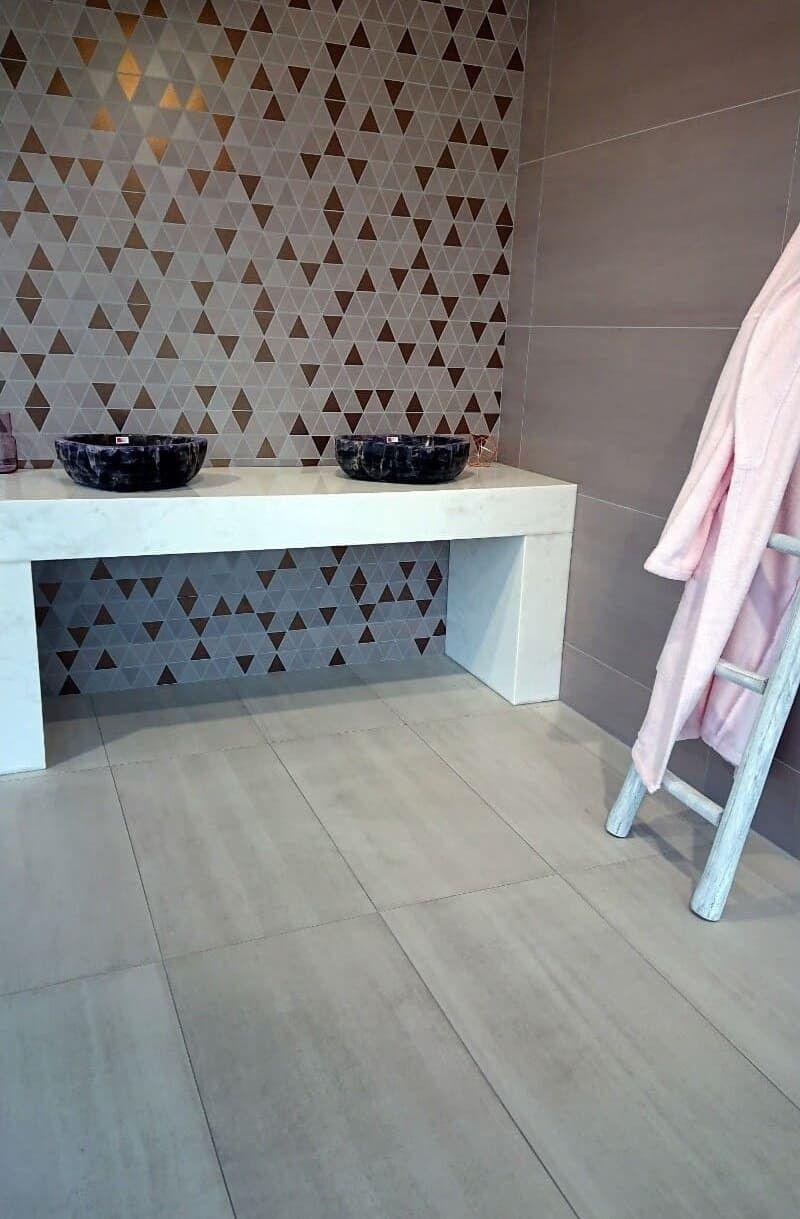 Mosaique Ceramique Rose Et Doree Columba Pink Triangle Capri En