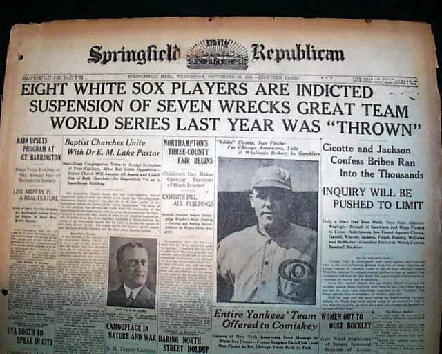 essays on the black sox scandal Major problems in american sport history :  counter-memories and the black sox scandal  the essays were chosen to cover broadly the field of sport.