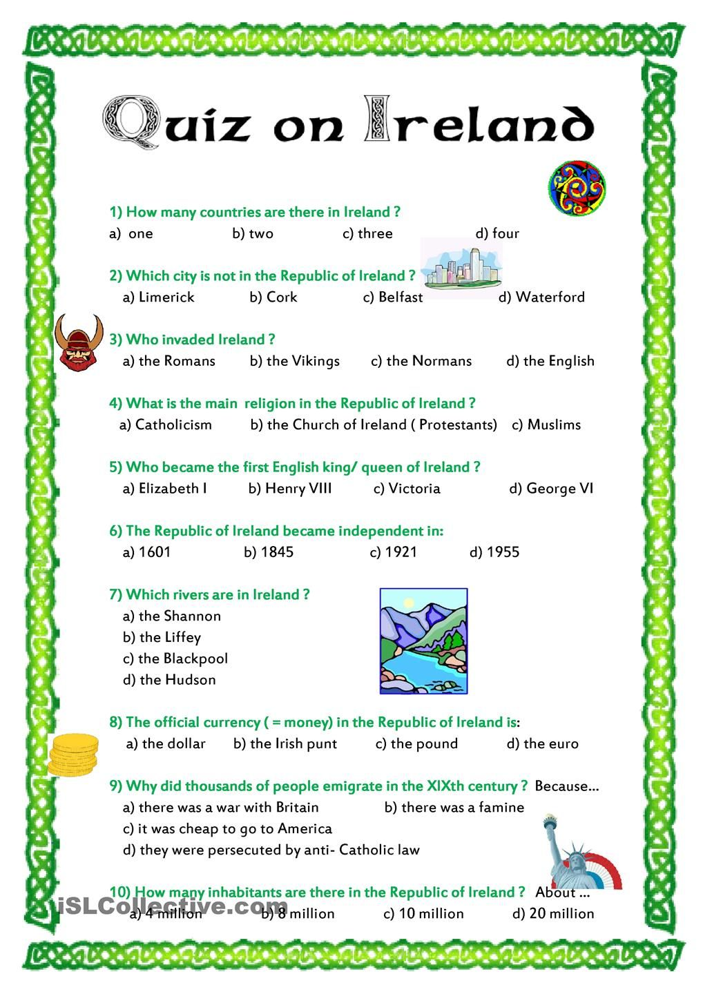 Quiz on Ireland worksheet - Free ESL printable worksheets made by ...