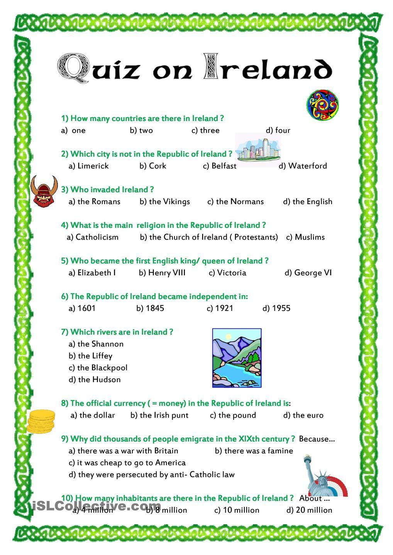 Quiz on Ireland worksheet - Free ESL printable worksheets made by teachers