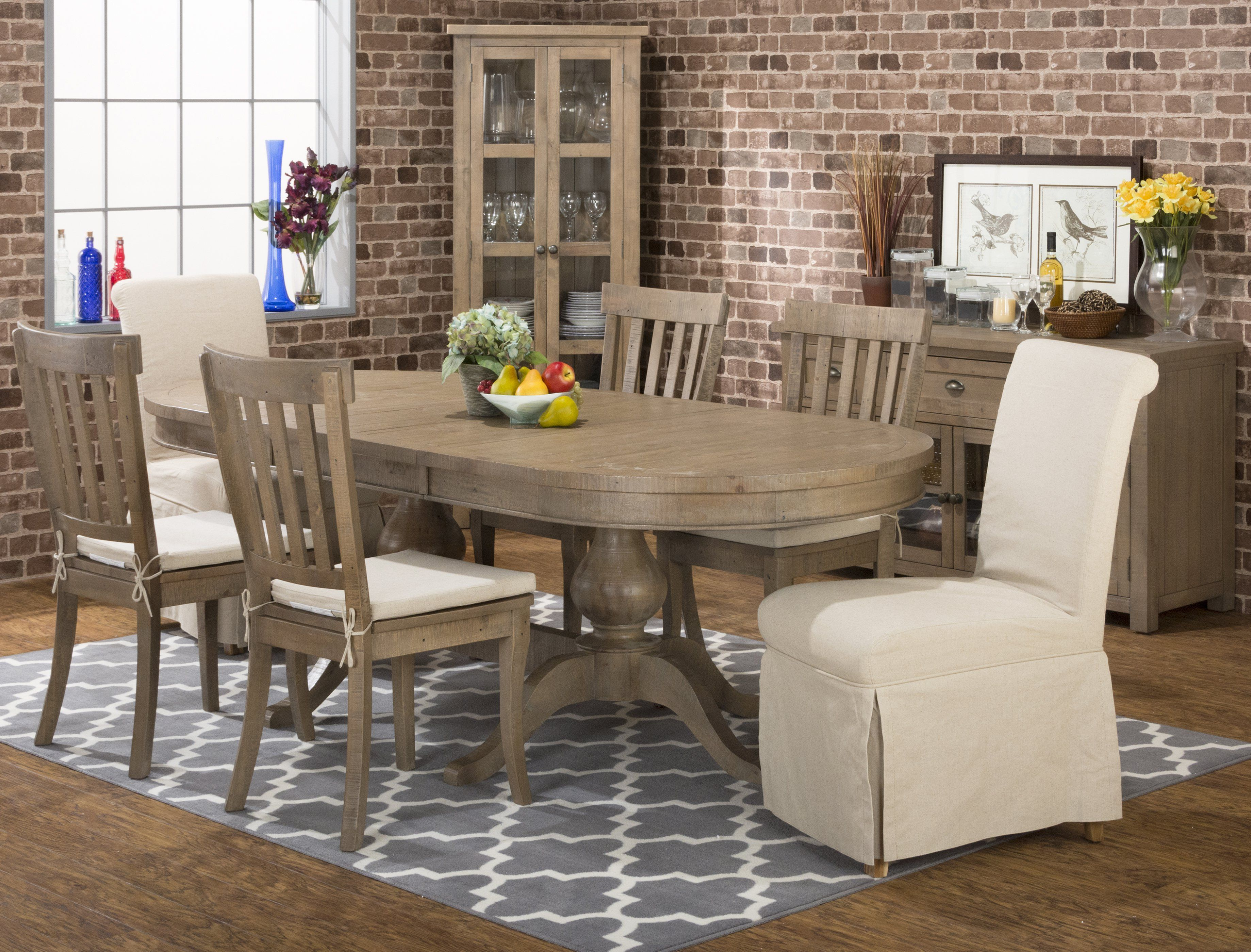 Jofran Slater Mill Collection 8 Piece Oval Dining Table
