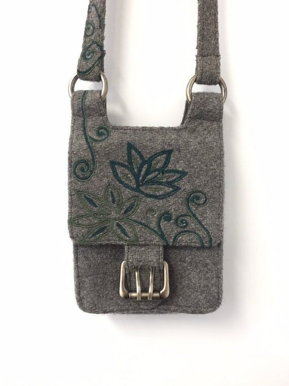 Small Crossbody Bag / Built In Wallet Purse / Sundance MiMo Handbag / Embroidered Green Flowers Gre