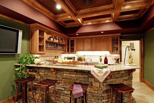 Luxury and Elegant Stacked Stone Bar eclectic family room ...
