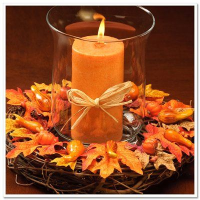 Fall Wreath With Candle Centerpiece Autumn Leaves Pumpkin Decorating