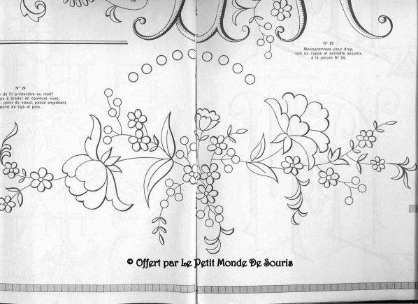 Mod le gratuit fleurs en broderie traditionnelle - Broderie traditionnelle grille gratuite ...