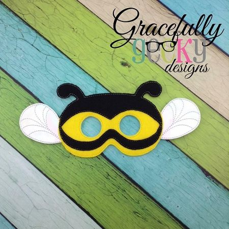 Bee Mask Embroidery Design - 5x7 Hoop or Larger 2 hoopings #craftsaleitems