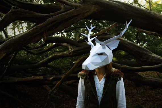 stag or reindeer full mask make your own by wintercroft on etsy