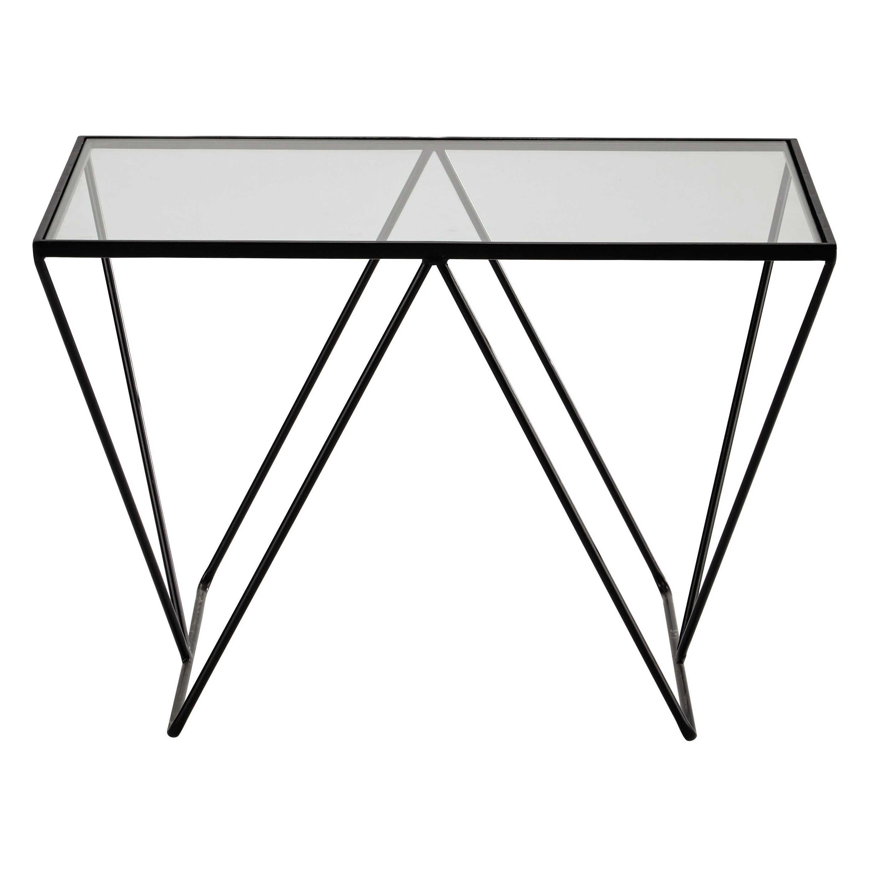 Bout de canapé en métal et verre L 60 cm ARCHY
