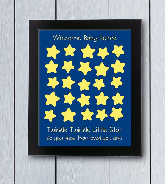 Twinkle little star guest book picture. Cute lullaby theme guestbook for your babyshower or birthday party. Little starts will keep signatures from