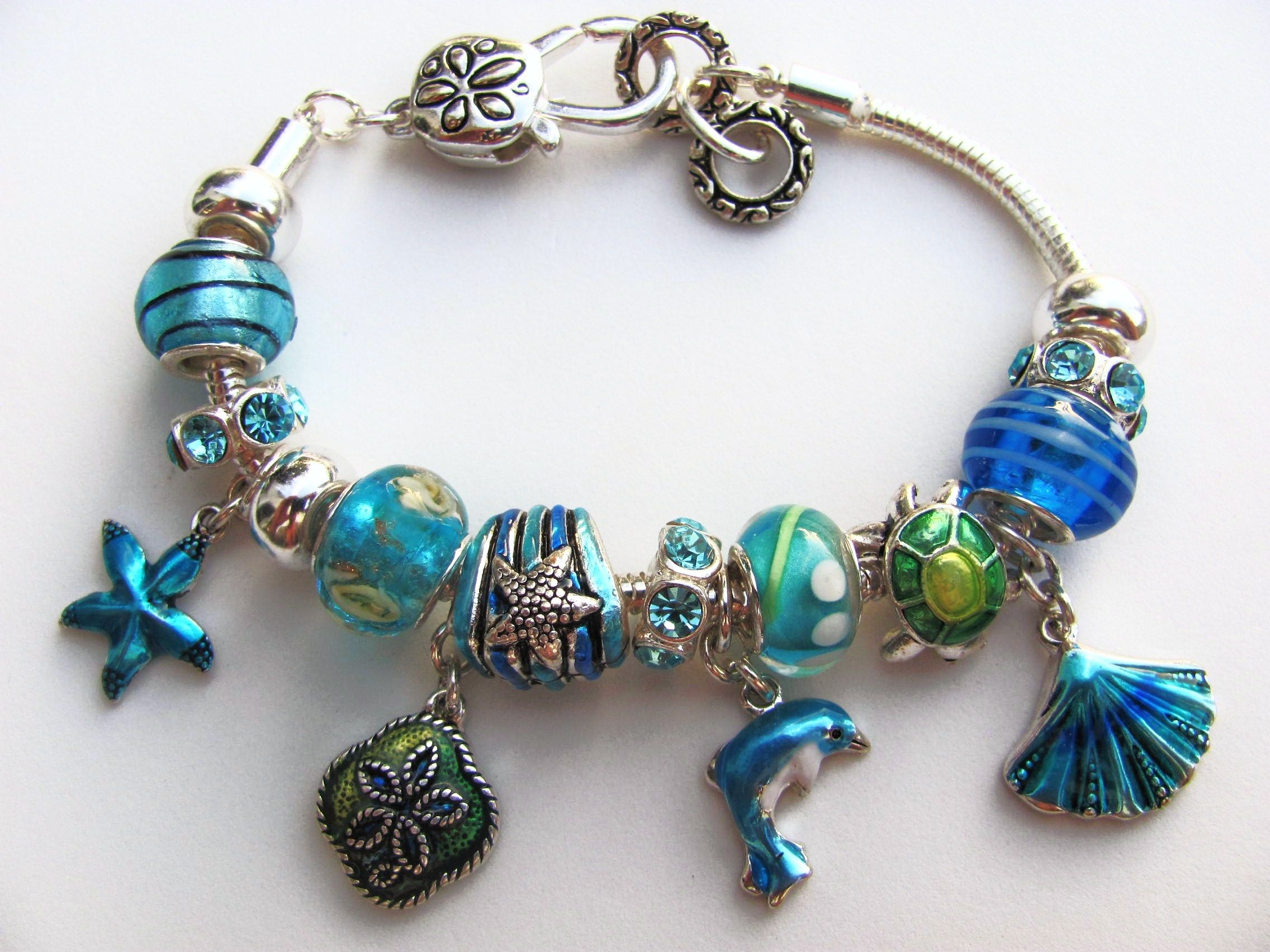 Pandora Inspired Blue Nautical Charm Bracelet Dolphin Turtle Sea