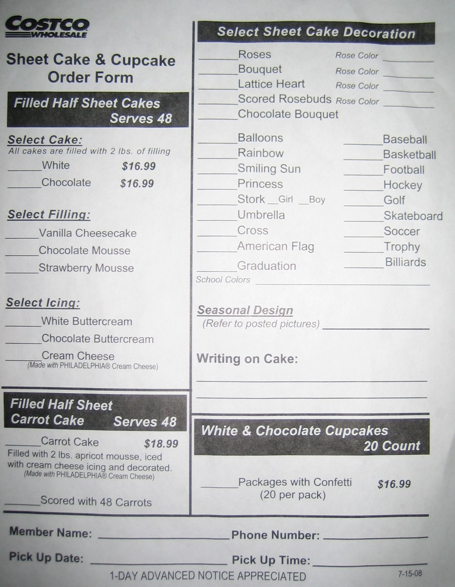 Costco Cake Order Form | Yummy | Pinterest | Costco, Costco cake ...