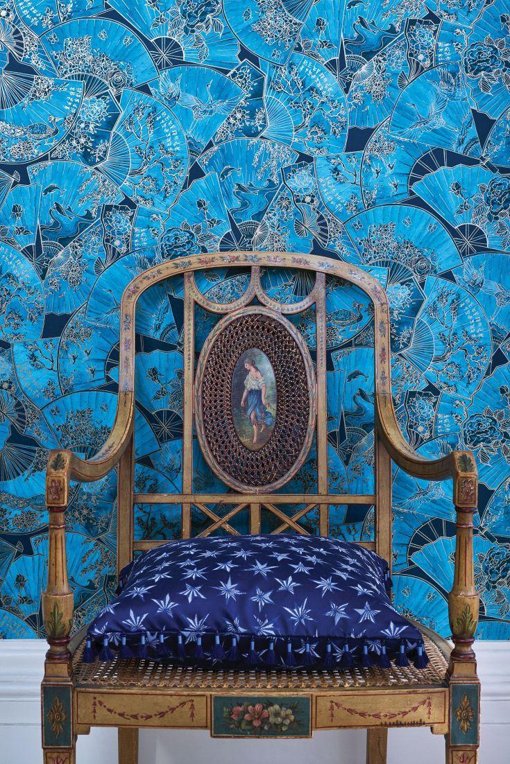 Fanfare by Matthew Williamson Teal Wallpaper W7146