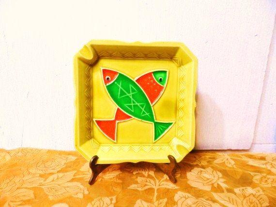 Retro Pottery FISH ASHTRAY- Vivid Vintage Orange & Green Fish Ash Tray-Mid Century Mod Art Pottery- Swinging Home Decor-Funky Colors by OrphanedTreasure on Etsy