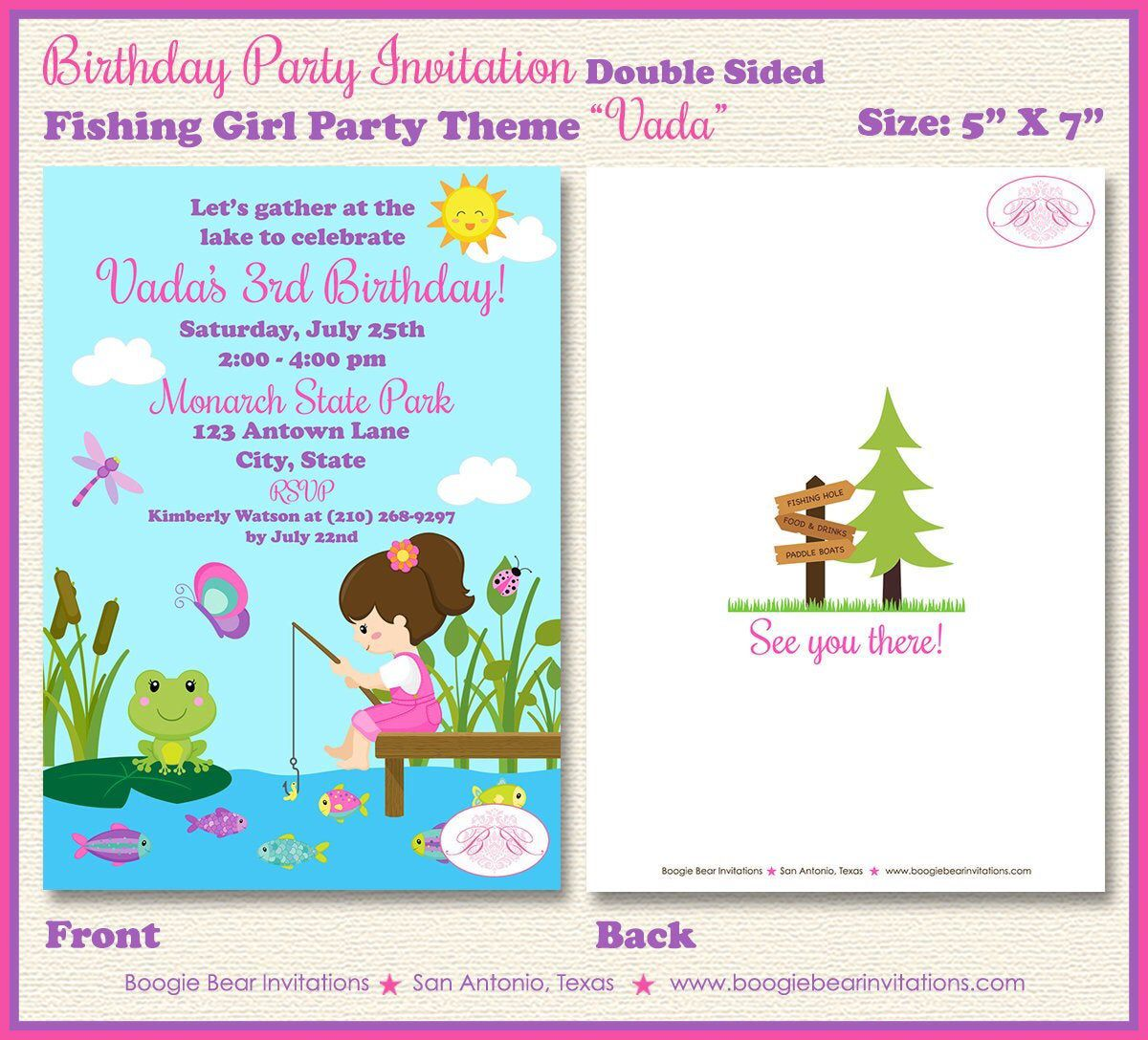 Fishing Girl Birthday Party Invitation Pink Ocean Lake