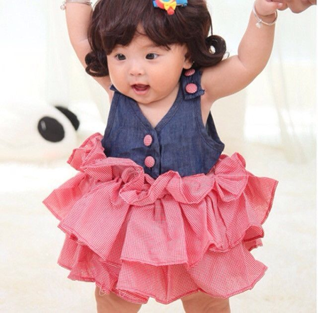 Denim Splicing Pink Dress Newborn Baby Clothes