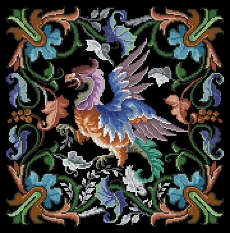 Fantasy bird cross stitch pattern berlin woolwork Griffin Digital Format PDF unique vintage victorian retro needlework chart pillow