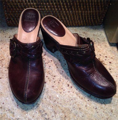 BROWN'S LANDING Women'l Black Slip On Comfort Shoes Clog Size 8.5M Leather EUC