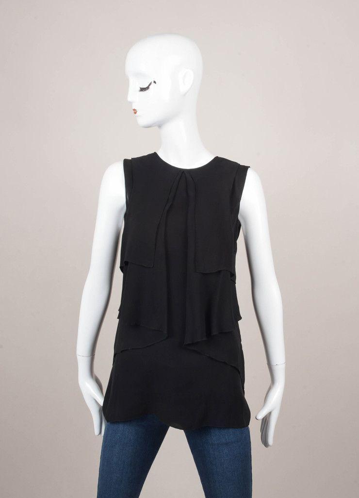 Black Layered Panel Detail Sleeveless Silk Tunic