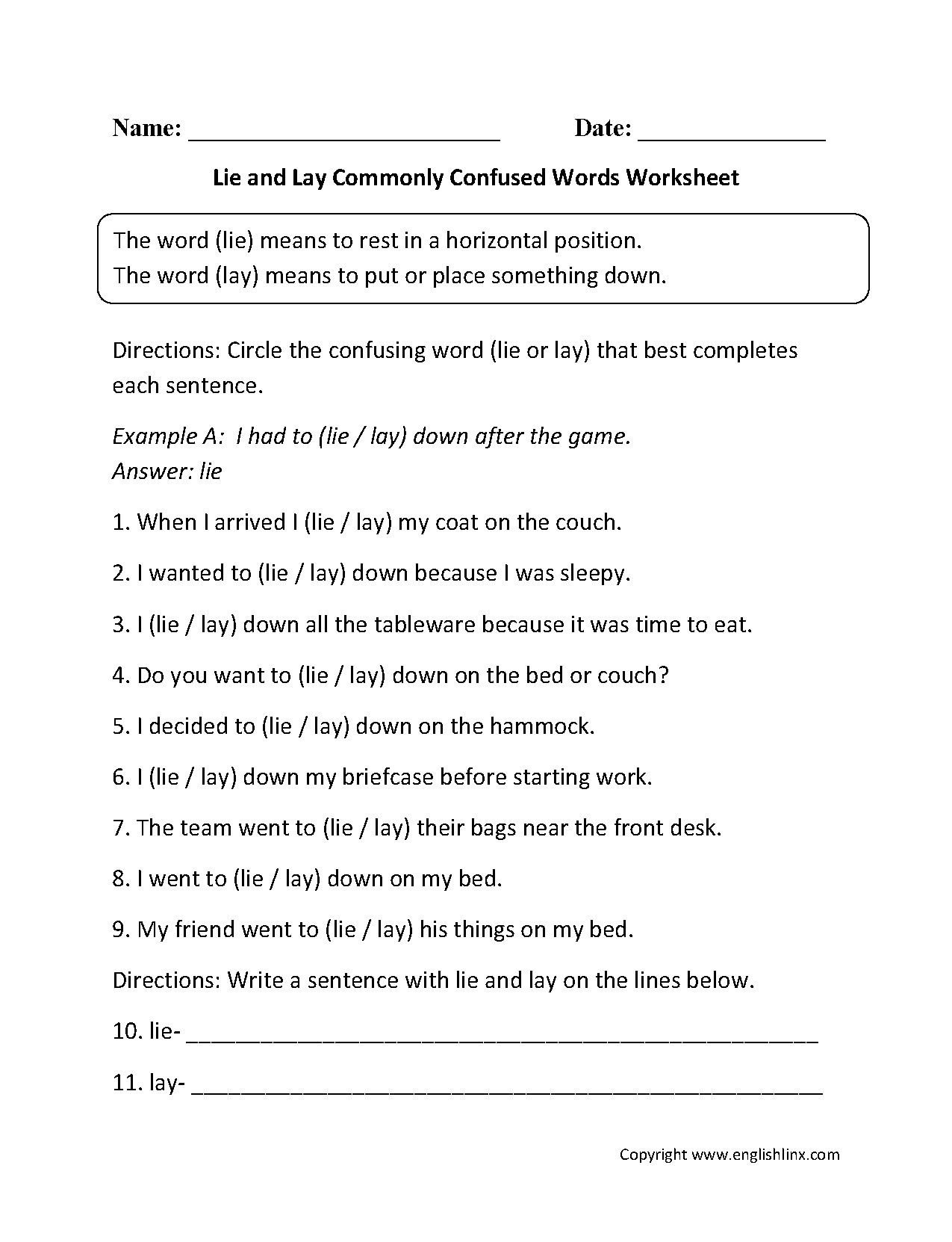 Lie And Lay Commonly Confused Words Worksheets