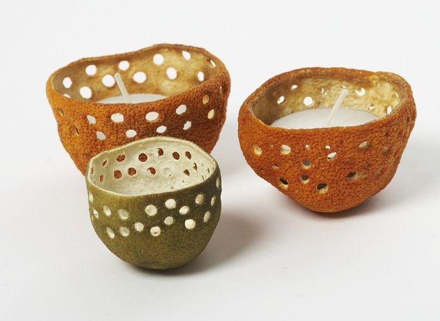 Cool and different candle holders- cut out any shape/design u like from oranges, lemons, limes, grapefruit, etc… w/ leaves, crescent moon, stars, etc…the possibilities are endless…                                                                                                                                                                                 More