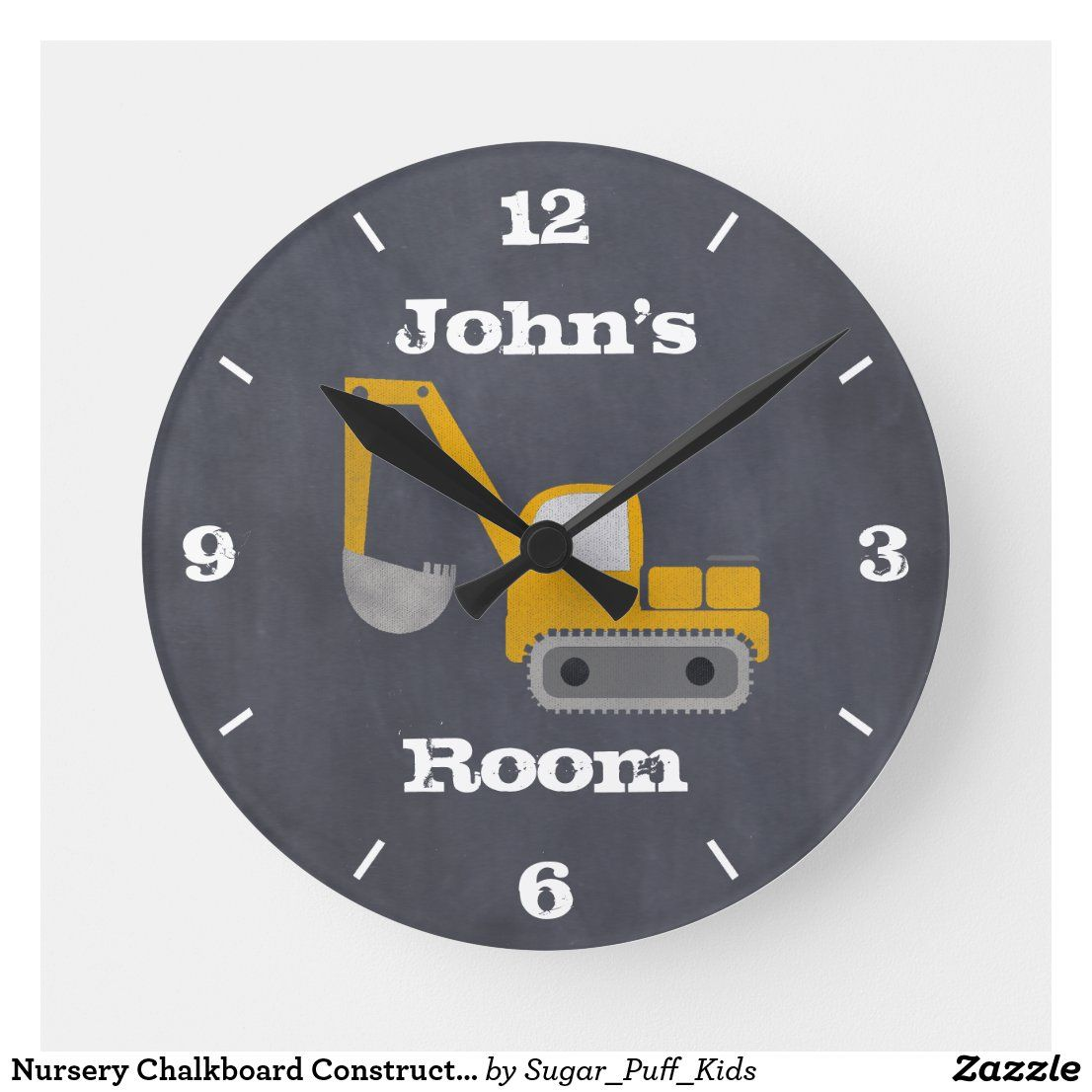 Nursery Chalkboard Construction Wall Clock Zazzle Com In 2020 Construction Nursery Wall Clock Childrens Wall Clock