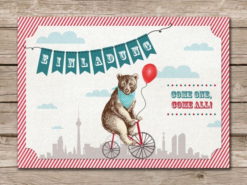 Postkarte EINLADUNG Berliner Zirkus Bär