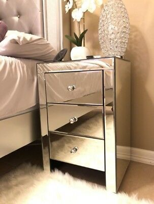 Modern Mirrored Side Table Nightstand 3 Drawer Chest Glam Bedroom ASSEMBLED for sale online   eBay