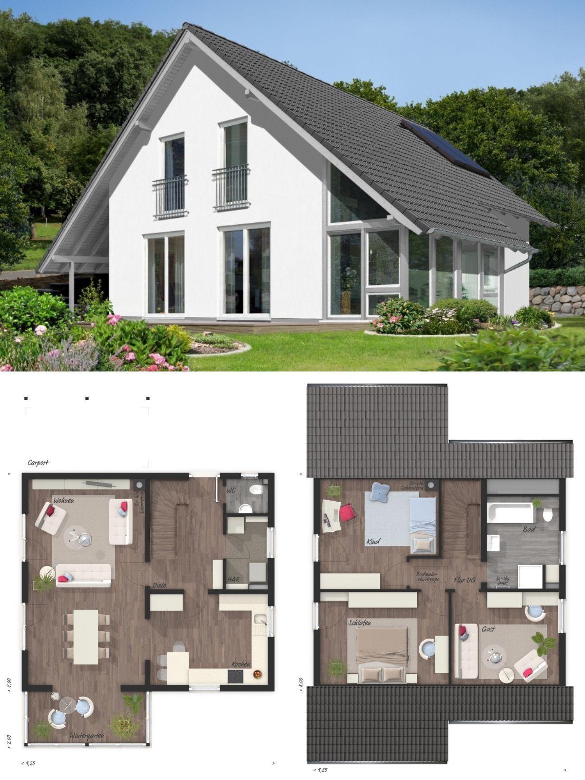 Einfamilienhaus Architektur Modern Grundriss Offen Mit Wintergarten