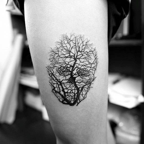 Skull Tree Branches Creative Optical Illusion Tattoos For Men #Tattoosformen