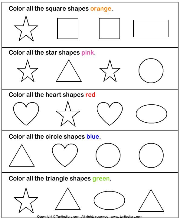Color the shape - TurtleDiary.com | Shapes | Pinterest | Vorschule ...