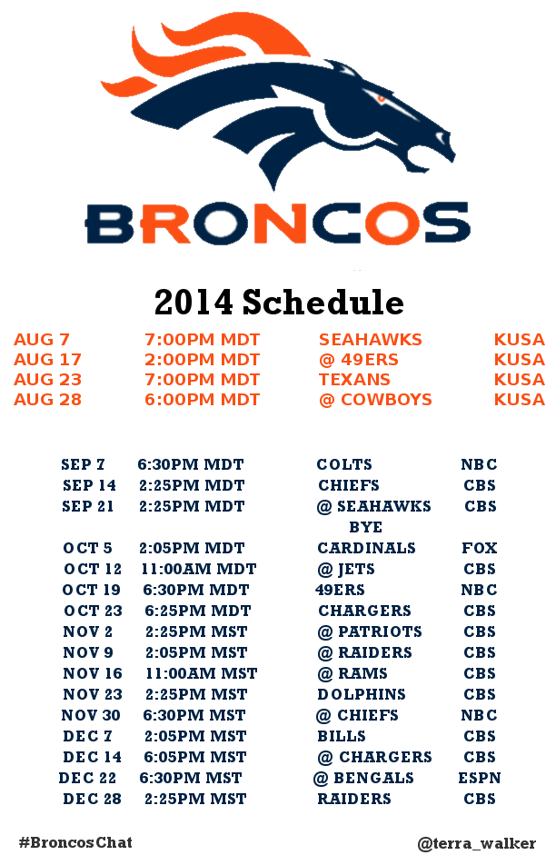 This is a graphic of Mesmerizing Denver Broncos Schedule Printable