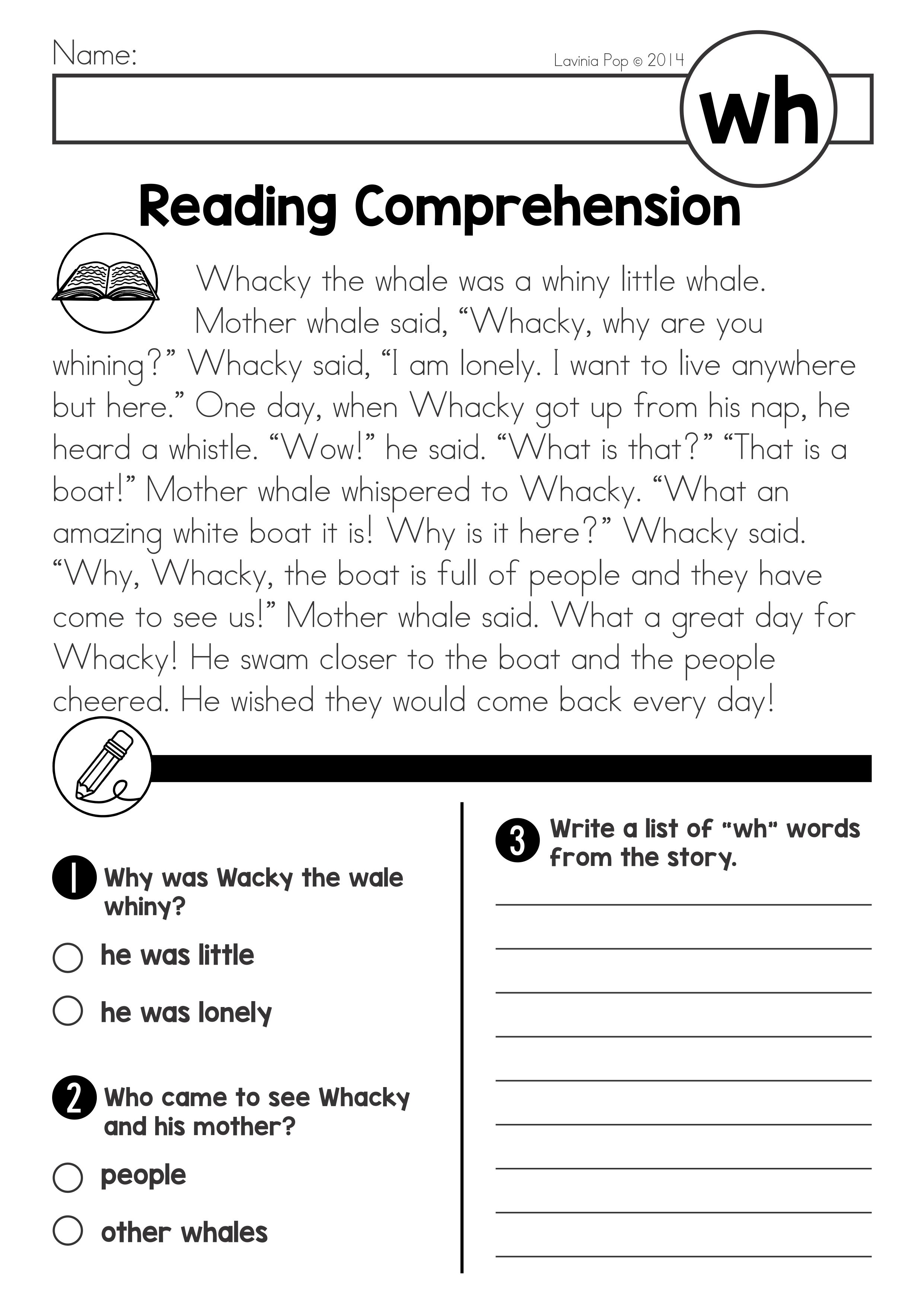 Wh Digraph Worksheet First Grade   Printable Worksheets and Activities for  Teachers [ 3508 x 2482 Pixel ]