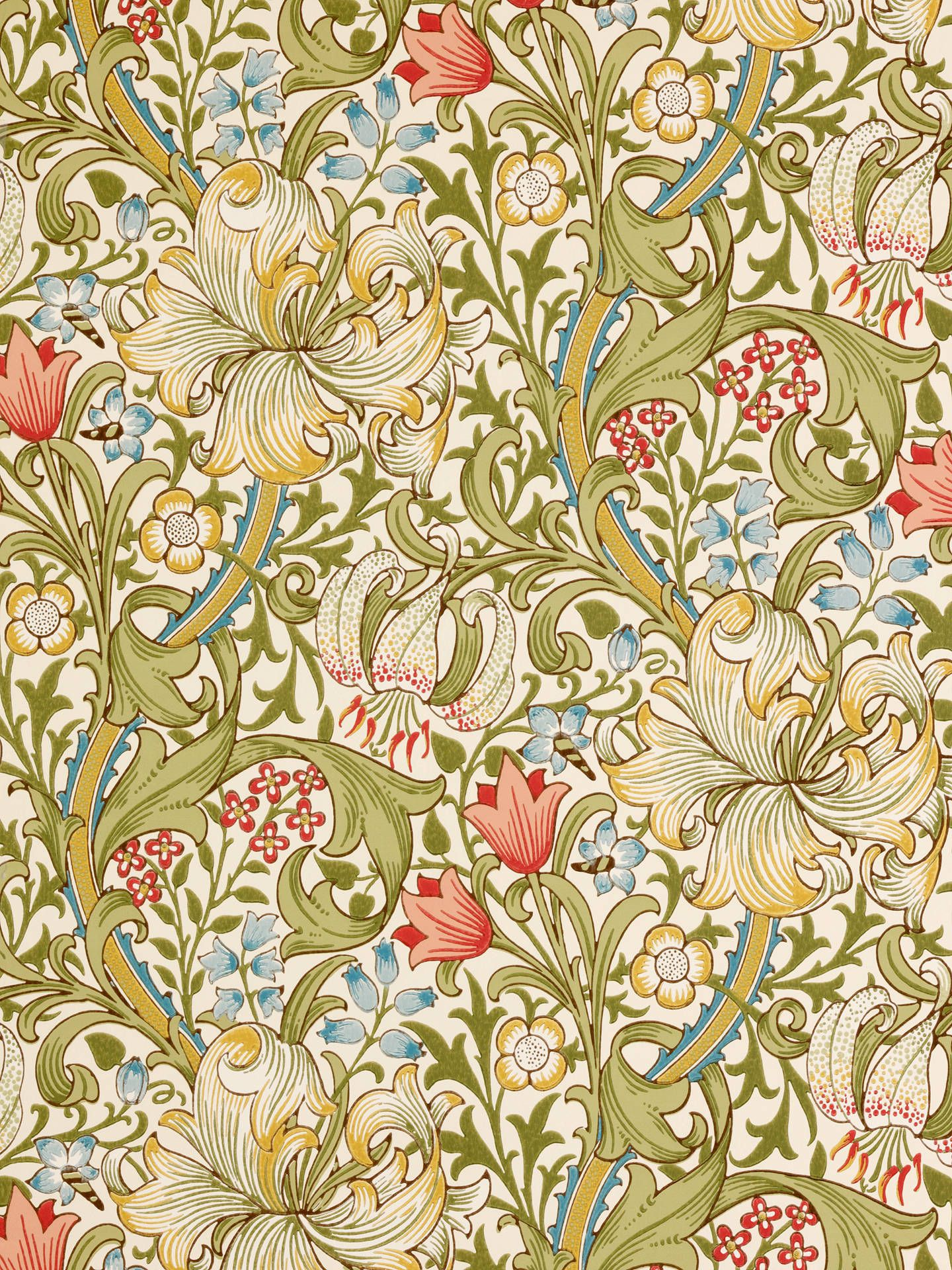 Morris & Co. Golden Lily, Green / Red, 210398 Morris