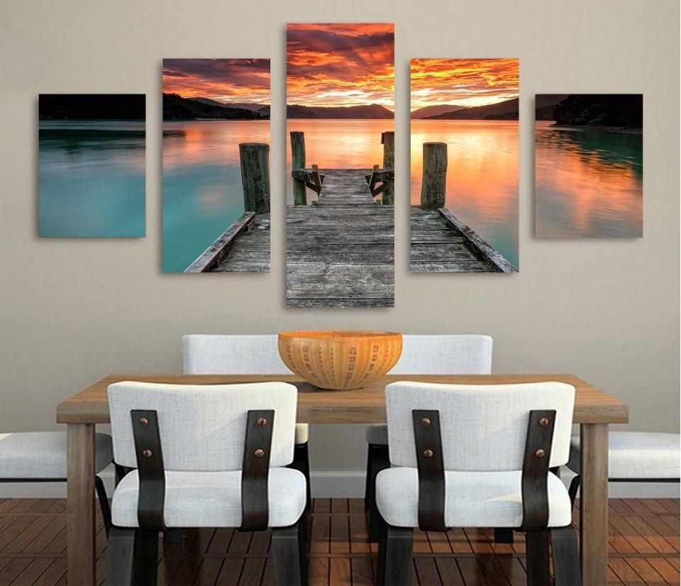 LAKE SUNSET 5 Piece Canvas Art LAKE SUNSET- HD Printed Wall Art Home Decor  Canvas Picture. What a great addition to your home, office,  man-cave! We have 2 options for this print-- With Framed,  Or No Framed. Please choose one option when you buy.