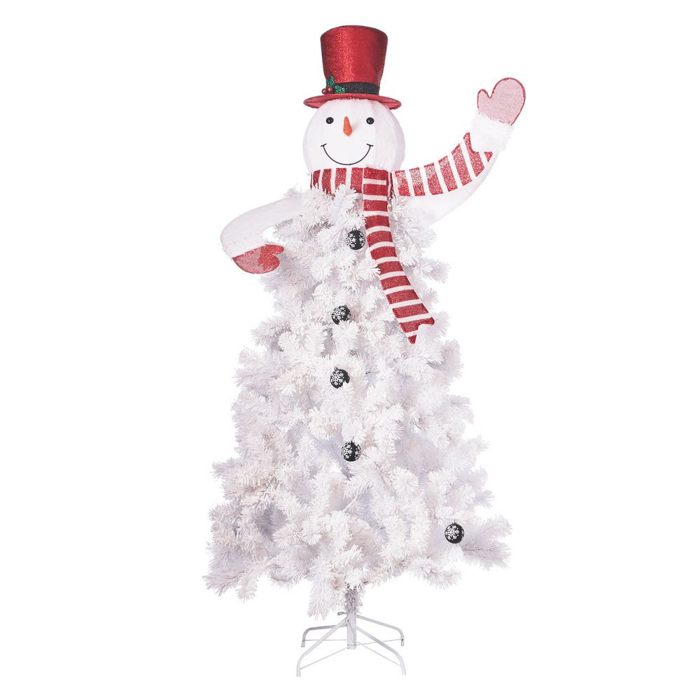 PreLit Snowman Christmas Tree 6.5ft with 140 Cool White