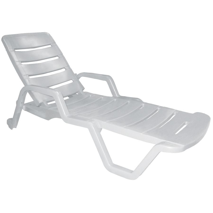 Pool Chaise Lounge Chairs Adams Mfg Corp 1 Count White Resin Stackable Patio Chaise Lounge