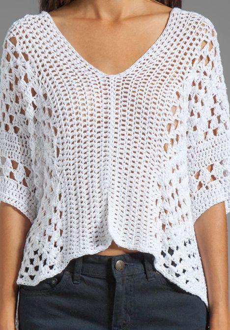 Blusa Branca de Crochet | Crochet clothing ideas | Pinterest ...
