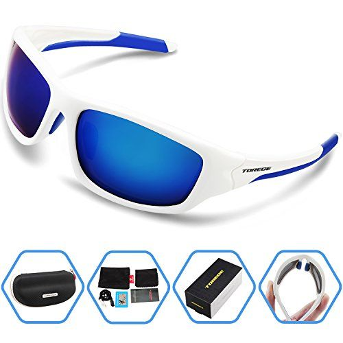 51d0963830 Torege Polarized Sports Sunglasses For Cycling Running Fishing Golf TR90  Unbreakable Frame TR011 WhiteBlue -- Visit the image link more details.
