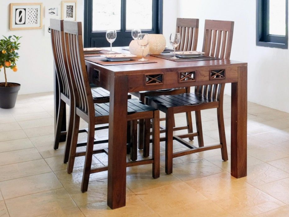 Table A Manger Jakarta Ii 6 Couverts Teck Massif Meuble Bois Massif Table A Manger Couvert