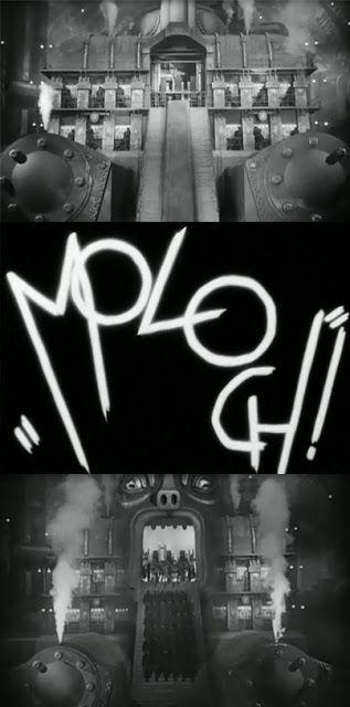Metrópolis (1927). Máquina comparada a Moloch, o antigo deus semita honrado por sacrifícios humanos.