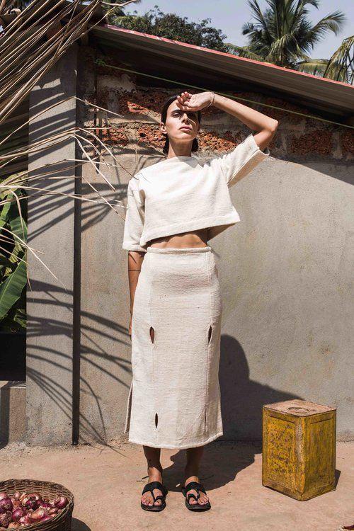 Halter top raw handwoven textured cotton