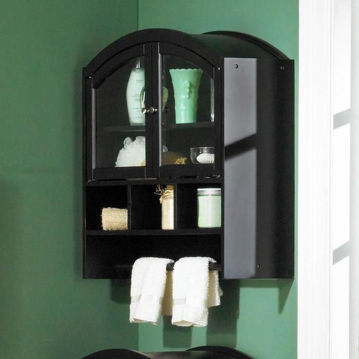Arch Top Wall Mount Over Toilet Cabinet Black