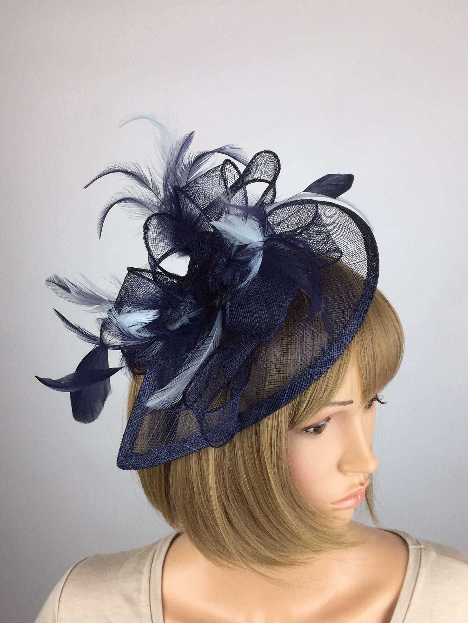 BLACK HAT FEATHERS SINAMAY FASCINATOR WEDDING ASCOT RACE HEN PARTY LADIES DAY