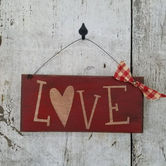 Primitive Love sign  Primitive Valentines Day by FlatHillGoods