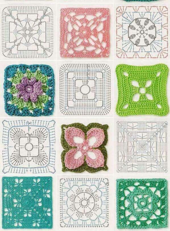 Granny Square Diagram | Croche tutoriales y graficos, bordes ...