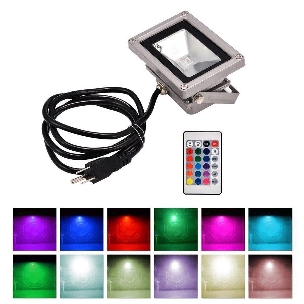 10 20w Led Rgb Ip65 Waterproof Flood Light With Plug Spotlight Outdoor Indoor Flood Lights Light Fixtures Bedroom Ceiling Led Flood Lights
