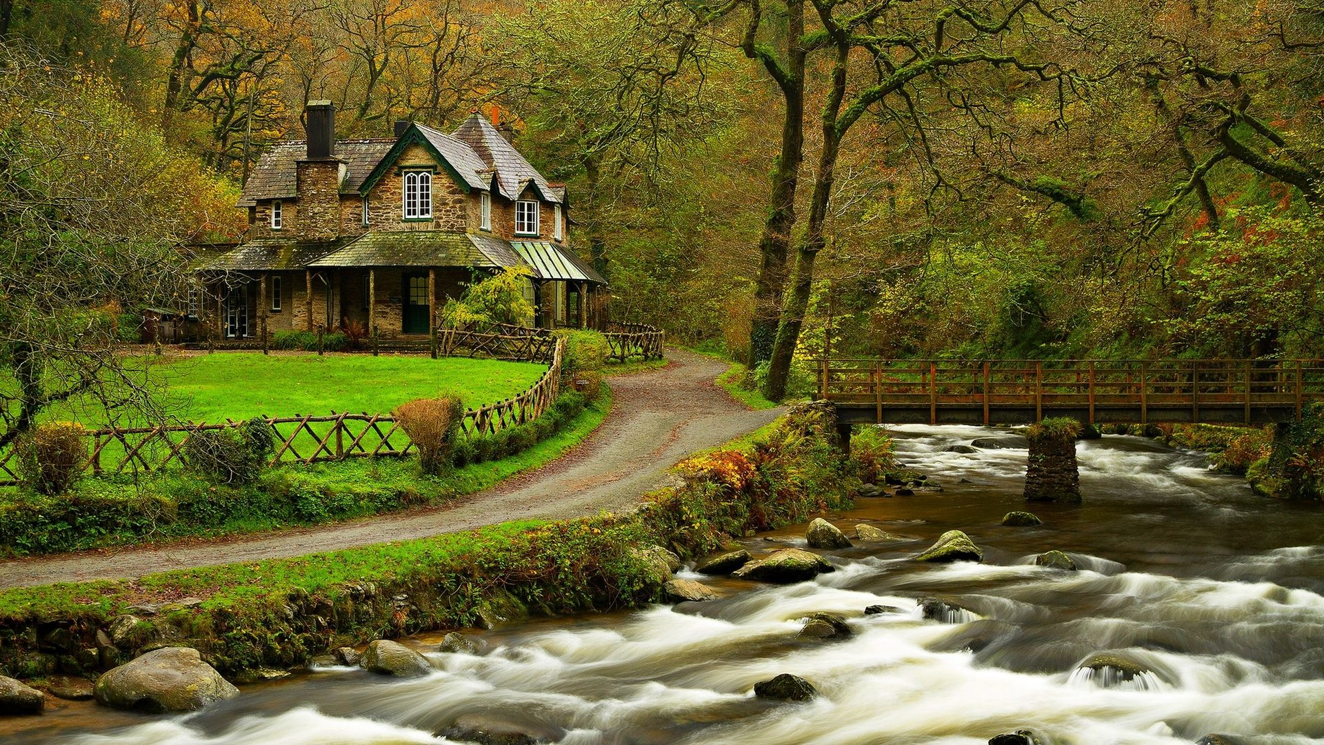 House in the woods for 1920 x 1080 hdtv 1080p resolution for Wallpaper with houses on it