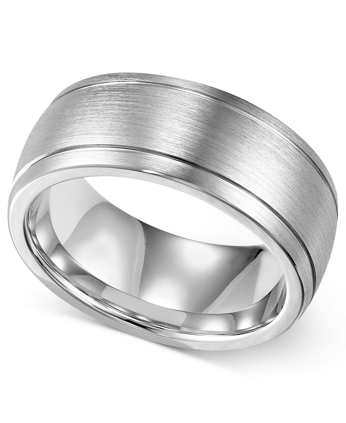 Macys Mens Wedding Rings: Triton Men's Cobalt Ring, 8mm Wedding Band