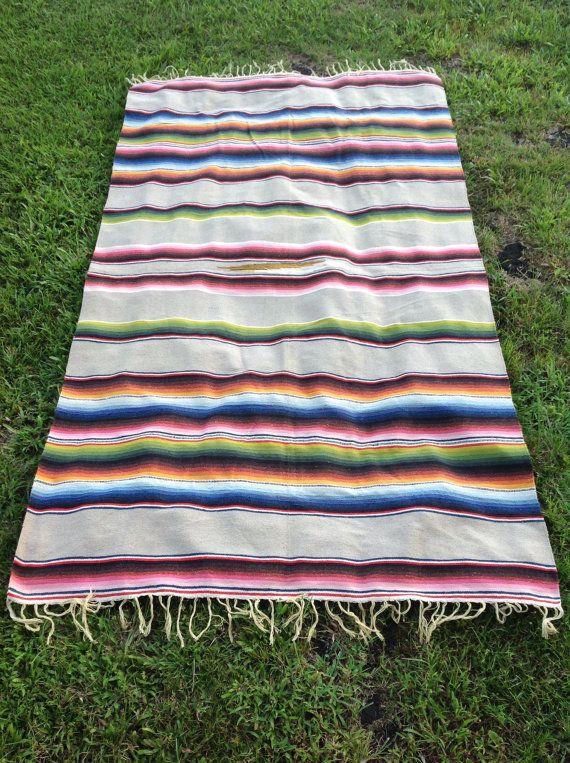 Mexican blanket grey ethnic blanket fringe boho blanket beach mexican fabric mexican folk art hippie serape blanket throw blanket